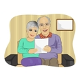 Happy senior couple reading letter together vector image vector image