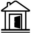 home icon with door open vector image