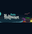 horizontal poster with happy halloween calligraphy vector image vector image