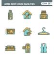 icons line set premium quality hotel service vector image vector image