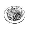 ink sketch blini with sour cream vector image vector image