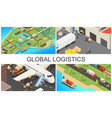 isometric global transportation composition vector image