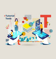 letter t people using tutorial tools online vector image vector image