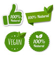 natural green labels set with leaves vector image