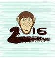 new year print monkey symbol hand drawn ink 2016 vector image vector image