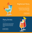 nightclub party drinks web posters set push button vector image