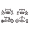 outline royal wheel transport vintage icon set vector image vector image