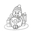 outlined coloring snowman with mobile phone vector image