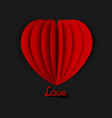 paper art red heart on black background with text vector image vector image