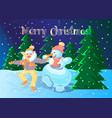 pig dancing with a snowman vector image