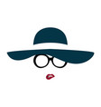 portrait of lady in graceful hat and glasses vector image vector image