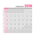 practical light-colored planner 2019 february vector image vector image