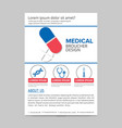 red and blue medical flyer layout template vector image