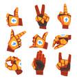 robot hand showing various gestures set vector image vector image