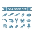 Sea food icons set silhouette shadow vector image