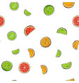 seamless pattern of whole and cut limes oranges vector image vector image