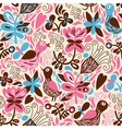 Seamless pattern with birds and floral elements vector image vector image