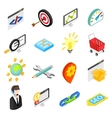 Seo isometric 3d icons set vector image vector image