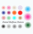 set dotted halftone pattern or colored halftone vector image