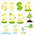 set of dollars and euro vector image vector image