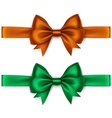 Set of Shiny Orange Green Satin Bows and Ribbons vector image vector image