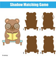 shadow matching game kids activity with cute bear vector image vector image