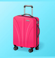 single pink luggage travel bag isolated - baggage vector image vector image
