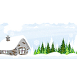 Snow covered hut vector image vector image