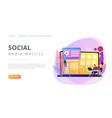 social media dashboard concept landing page vector image vector image