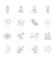 Space icons outline vector image