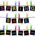 Spring sale concept with photo frames hanging on vector image vector image