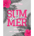 summer party palm leaves neon pink text flyer vector image vector image