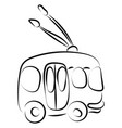 trolley bus drawing on white background vector image