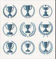 trophy and awards retro vintage collection 3 vector image vector image