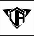 va logo monogram with wings arrow around design vector image vector image