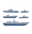 war ship set collection pack with various model vector image vector image
