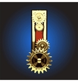 Wooden Figure with Gears vector image vector image