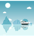 yacht sailing between icebergs in ocean cruise vector image