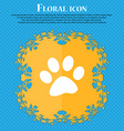 paw icon sign Floral flat design on a blue vector image