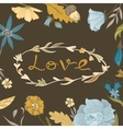 Autumn Floral Frame with Love Lettering vector image