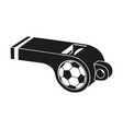 black and white soccer referee whistle silhouette vector image vector image