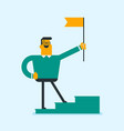 businessman standing on winner podium with a flag vector image vector image