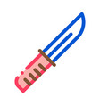 camping knife sign icon outline vector image