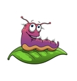 Cartoon slug or caterpillar character vector image
