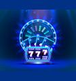 casino neon colorful fortune wheel neon slot vector image