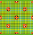 checkered fabric green with orange buttons vector image