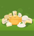 cheese various kinds of vector image vector image