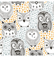 childish pattern with funny owl fashion seamless vector image