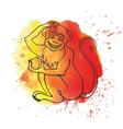 Chinese zodiac monkeyWatercolor splash vector image