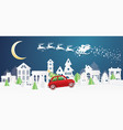 christmas village and santa claus in sleigh in vector image
